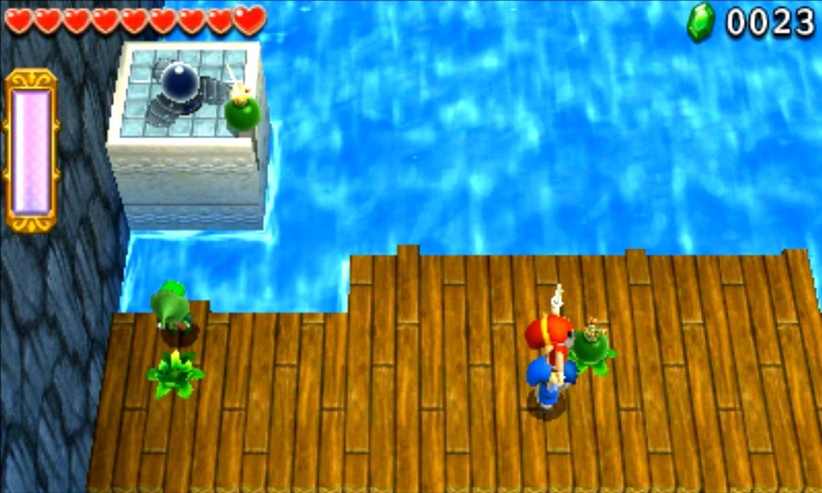 ゼルダの伝説 トライフォース3銃士 攻略 画像 2-1 水源エリア 湖のかくし砦