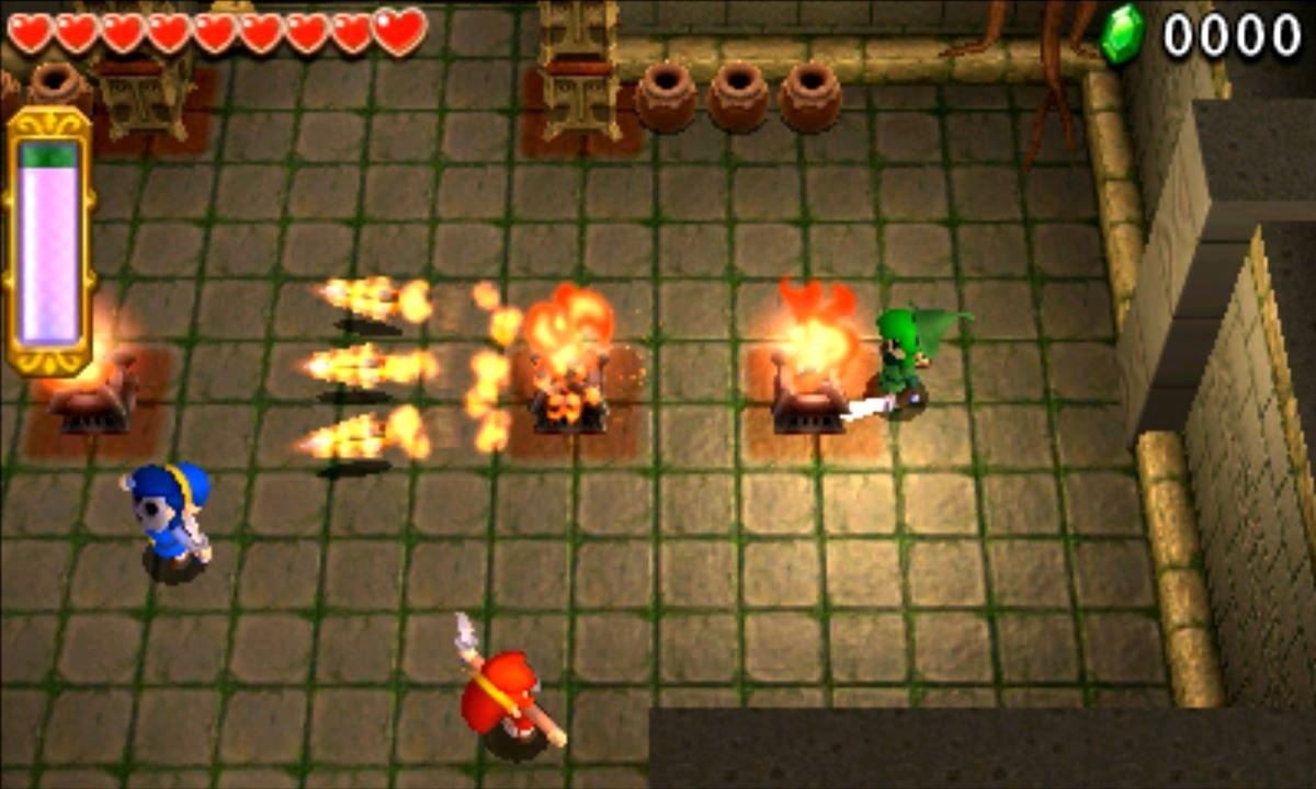 ゼルダの伝説 トライフォース3銃士 攻略 画像 1-1 森林エリア 森の神殿
