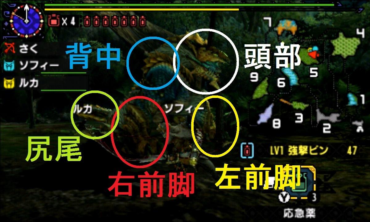 モンハン クロス 攻略 画像 ジンオウガ 部位 破壊 弱点