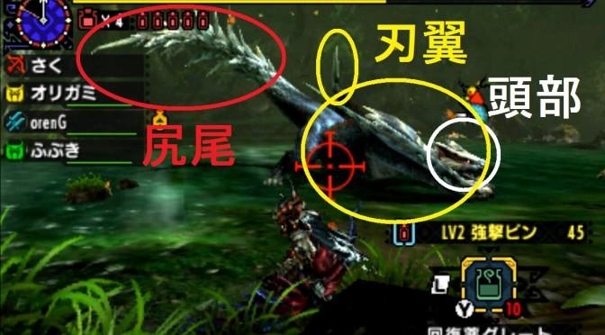 MHX モンハン クロス 攻略 画像 二つ名 白疾風ナルガクルガ 部位 破壊 弱点