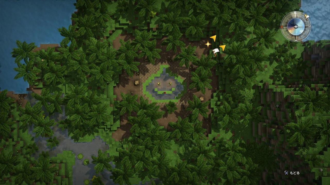 上空からスライム型のため池を確認