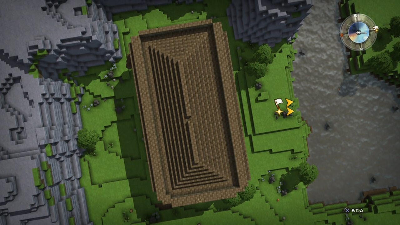 上空から巨大な建築物を見た画像