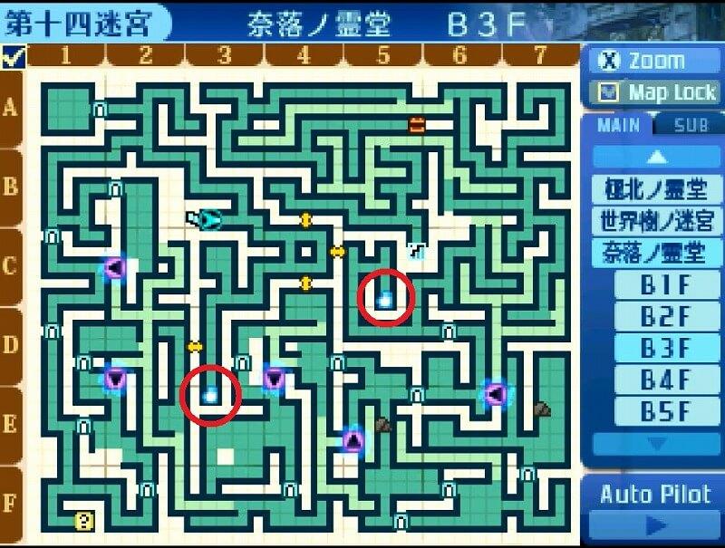 奈落ノ霊堂B3Fのマップ