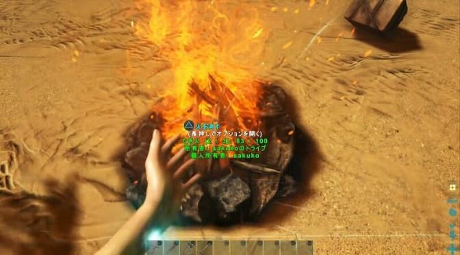 たき火に火がつく