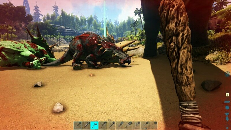 やられるトリケラトプス