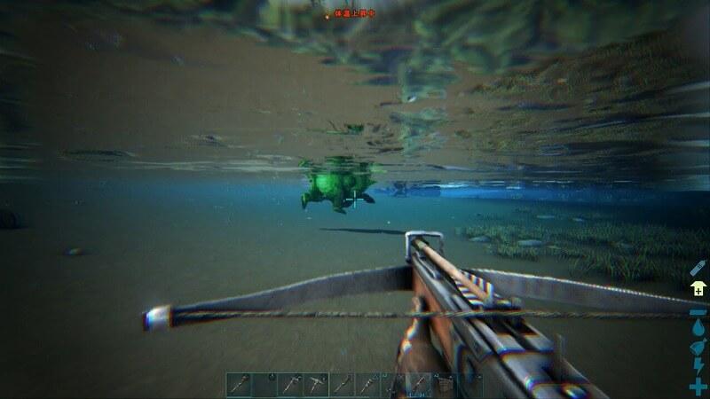 水中へ逃げるショートフェイスベア
