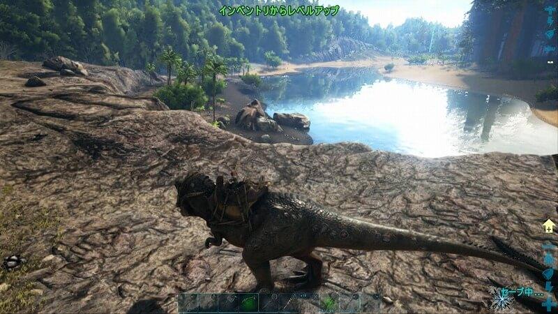 ティラノサウルスに騎乗